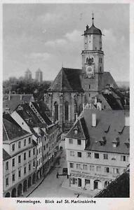 Memmingen-Blick-auf-St-Martinskirche-Ladengeschaefte-Echtfoto-AK-1940