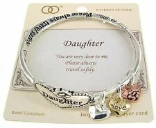 Daughter Love Heart Charms Family Travel Jewelry Mobius Twisted Bracelet #233-E