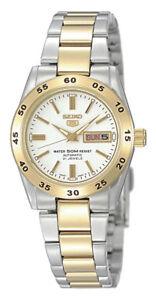 Seiko-5-Automatic-Women-039-s-Watch-Bicolour-symg42k1-Analog-Stainless-Steel-Gold
