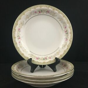Set-of-4-VTG-Rim-Soup-Bowls-by-Meito-Kenwood-Floral-Sprays-Platinum-Japan