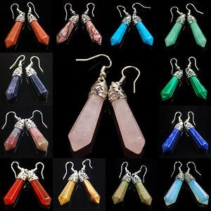 Natural-Gemstones-Hexagonal-Pointed-Healing-Reiki-Chakra-Earrings-Beads