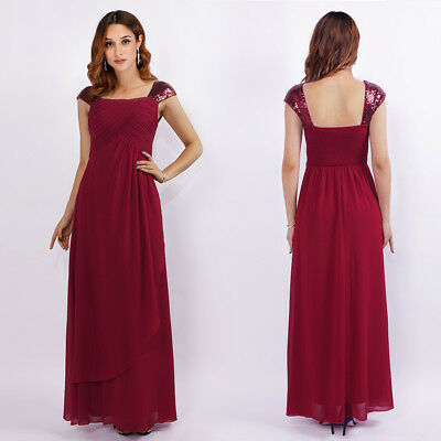 Ever-pretty Womans Cap Sleeve Formal Long Evening Dress Backless Ball Gown 07651