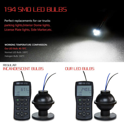 10x 168 2825 194 6000K LED Bulb for Toyota Interior Map Dome Side Marker Lights