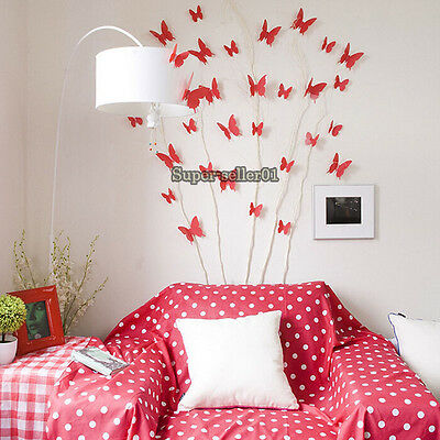 Colorful 12PCS 3D DIY Wall Sticker Stickers Butterfly Home Decor Room Decoration