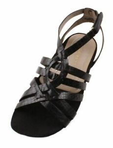 Easy-Spirit-Ginnies-Womens-Black-Leather-Open-Toe-Sandals