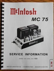mcintosh mc 75 original service manual