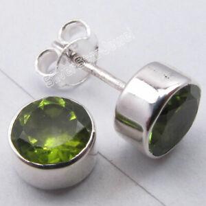 925-Sterling-Silver-Peridot-Ear-Stud-Earrings-Gemstone-New-Jewelry