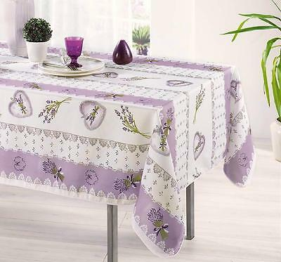 60X120 RECTANGLE BOUQUET LAVENDER LILAC FRENCH PROVENCE WHITE TABLECLOTH, NEW!