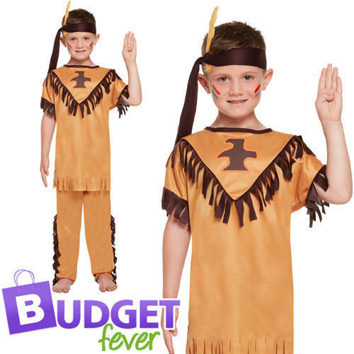 American Indian Boys Fancy Dress Native Western Kids Childs Book Day Costume