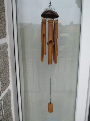 GRAND carillon éolien carillon a vent Bambou et noix de coco Naturel 85cm