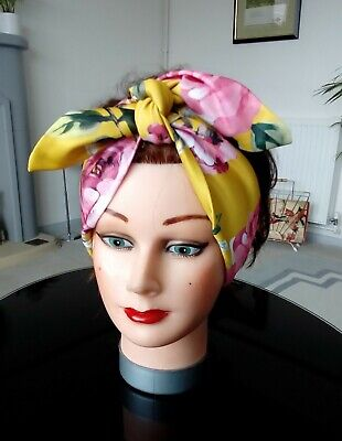 HEAD SCARF HAIR BAND mustard yellow stretch NECK TIE ROCKABILLY swing pin up