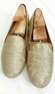 STUART-WEITZMAN-Women-s-Flats-Gold-Glitter-Loafers-6M-Holiday-Sparkle-Shoes