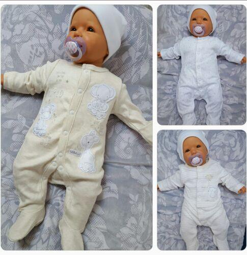 50 56 ❤ Baby Strampler Pyjama Erstling Geburt weiß Sternchen Neugeboren Gr