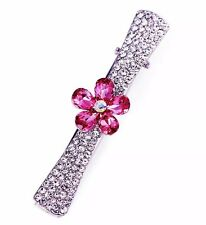 QUALITY Hair Clip Claw using Swarovski Crystal Hairpin Silver Flower Pink