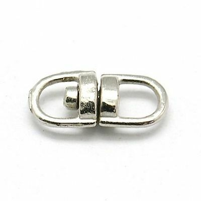50pc DIY Platinum Iron Double Eye Swivel Clasps Swivel Snap Hook Jewelry Finding