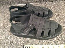 Skechers Shape Ups Black Leather Fisherman Sandals Women's Size 9.5