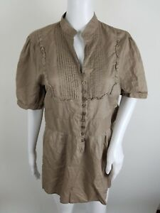 Central-Park-Womens-Blouse-Plus-Size-1X-Button-Front-Brown-Short-Sleeve