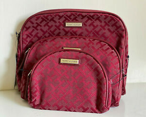 TOMMY-HILFIGER-3-PCS-DOME-TRAVEL-MAKEUP-POUCH-COSMETICS-ORGANIZER-CASE-49-RED
