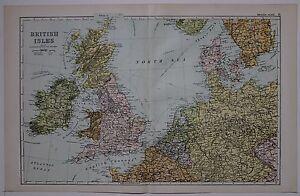 1910 ORIGINAL MAP BRITISH ISLES STEAMSHIP ROUTES NETHERLANDS BELGIUM GERMANY