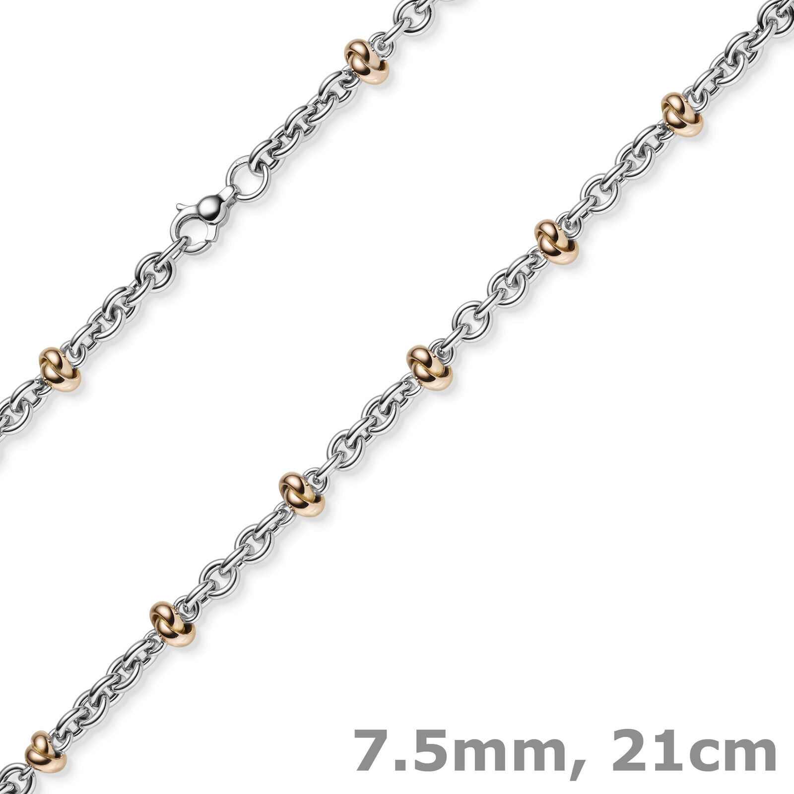 0 5 16in Bracelet Pea Chain Fantasy 585 gold White & pink 8 9 32In