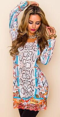 MISSY Tunika mit Strass Longshirt Shirt Kleid mehrfarbig Größe M/L (38/40)