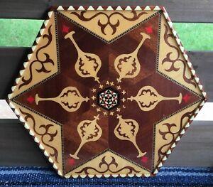 Vtg-Wooden-Inlay-Marquetry-Handcrafted-Tray-Granada-Spain-Pomegranate-Hexagon