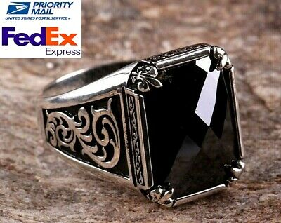 Turkish 925 Sterling Silver special black onyx stone Mens mans ring ALL SİZE us0