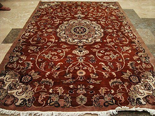 New Exclusive Floral Designed Designed Designed Area Rug Wool Silk Hand Knotted Carpet (6 x 4)' fbf38d