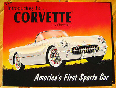 Chevy Corvette American Bred Metal Tin Sign Garage Auto Shop Picture Decor Gift