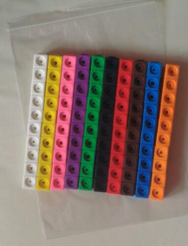 Matematica cubi di collegamento (Nuovo Pacco di 100 CUBI - 10 ciascuno di 10 colori differenti)
