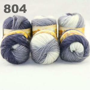 Sale New 6 Skeins x50gr Rainbows Multicolor Hand Knit Wool Yarn Wrap Scarves 20