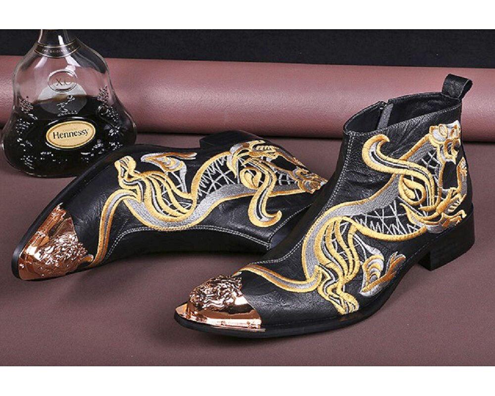 Talla de EE. UU. 5-12 Cuero Tigre Bordado Vestido Informal botas al Tobillo Zapatos para Hombre New