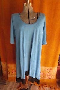 Cut Loose Linen Rayon A Line Marine Blue Tunic Dress 1x Plus Ebay