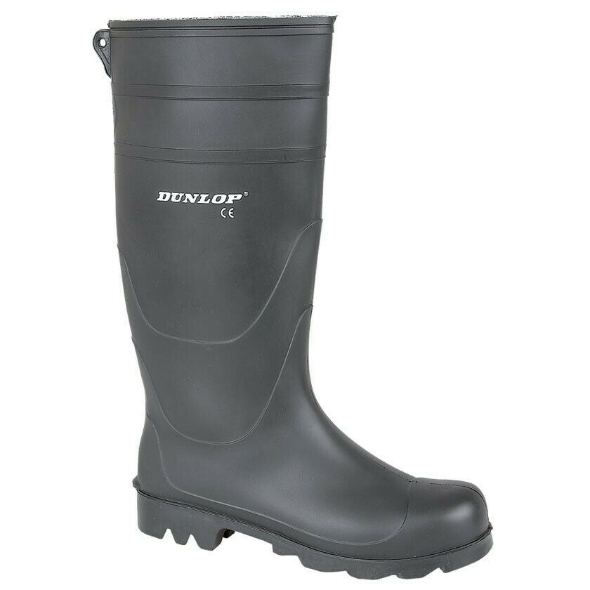 Dunlop Mens Camping Hiking Black Universal PVC Welly Wellington Boot W014A