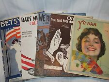 Lot of 5 Antique & Vintage Sheet Music - WW1 Patriotic Music - 1910 to 1924