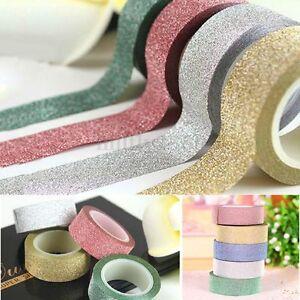 10M-Glitter-Washi-Tape-Paper-Self-Adhesive-Stick-On-Sticky-Craft-Decorative-DIY