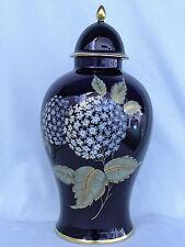 Große Vase,Schneeballblüten,echt Cobalt,Jäger Bavaria Porzellan,Topzustand RAR