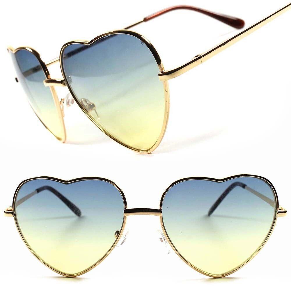 Two-Tone Lens Designer Fashion Vintage Retro Heart Shaped Womens Gold Sunglasses