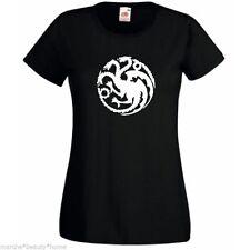 game of thrones targ dragon lady fit black medium t-shirt cotton womans top
