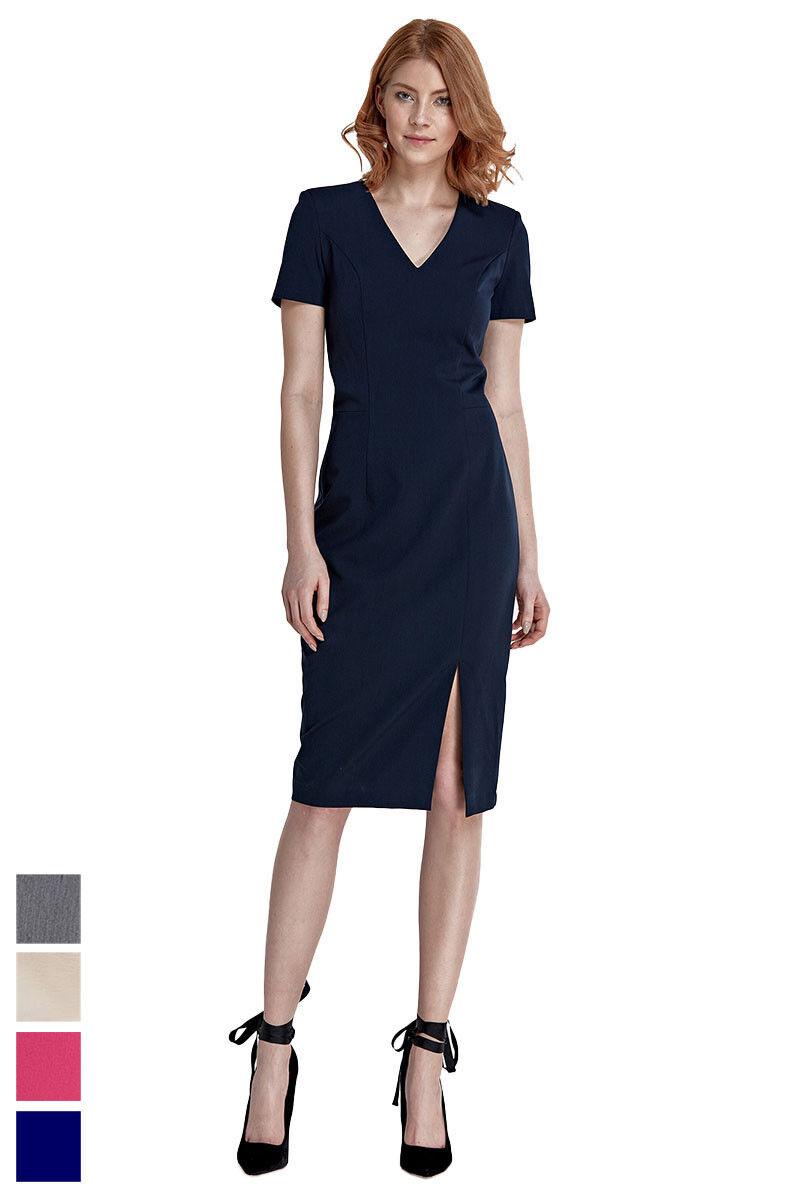 Etuikleid Damen Kleid Abendkleid knielang mit Schlitz kurzarm in 4 Farben Neu