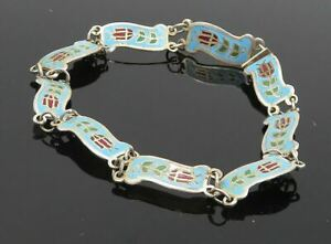 SIAM 925 Sterling Silver - Vintage Enamel Rose Flower Chain Bracelet - BT3561