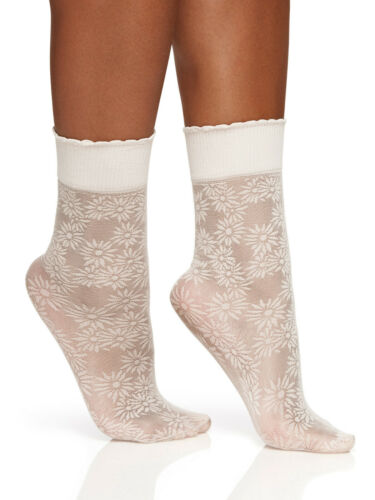 Details about  /Berkshire Women/'s Plus Size Scalloped Sheer Daisy Anklet Socks Shoe Size 9 to 12
