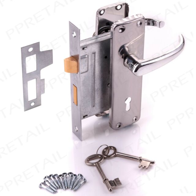 7x Internal Door Handle Set Sashlock With Keys Chrome Bathroom Lever