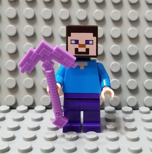 LEGO New Minecraft Steve Minifigure with Lavender Weapon