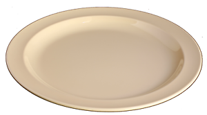 NEW Vintage Melamine 9  Dinner Round Plates Tan Salad Serve Dinnerware 4 Dz