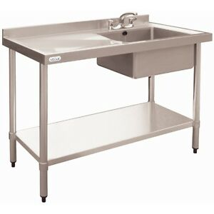 Image Is Loading Vogue Sink With Drainer Stainless Steel Restaurant Dishwasher