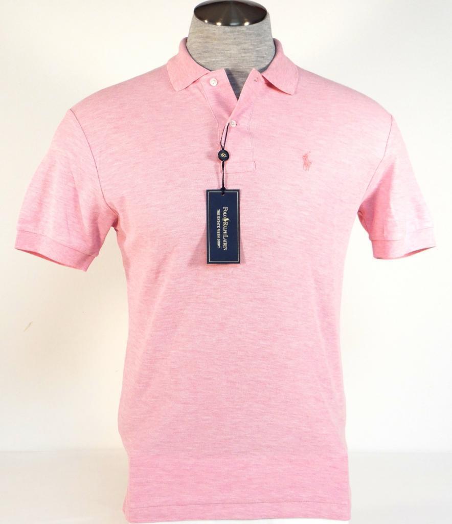 Ralph Lauren Estate Mesh Heather Pink Short Sleeve Polo Shirt Pink Pony Mens NWT