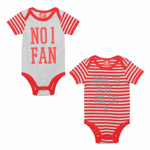 Official Liverpool FC Soccer Baby 2 Pack Bodysuit Red//Grey LFC