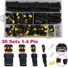 26set 1 4 Pin Way Sealed Waterproof Electrical Wire Connector Plug Car Auto Set