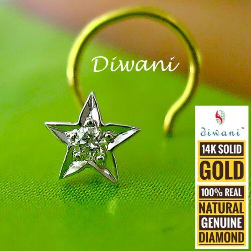 Diwani Natural Si Diamond 5 Point Star shape Nose Piercing Stud Ring Pin 14kGold